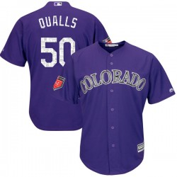 Colorado Rockies Chad Qualls Official Purple Replica Men's Majestic Cool Base 2018 Spring Training Player MLB Jersey